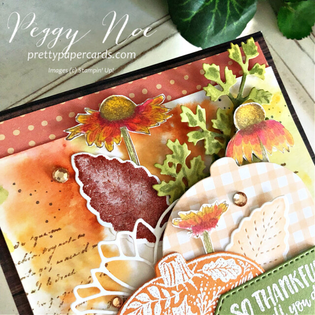Handmade Fall Card made with the Pretty Pumpkins Bundle by Stampin' Up! created by Peggy Noe of Pretty Paper Cards #prettypumpkin #prettypumpkinbundle #prettypumpkinstampset #stampinup #stampingup #peggynoe #prettypapercards #fallcard #pumpkincard #veryversailles #pumpkins #gingham