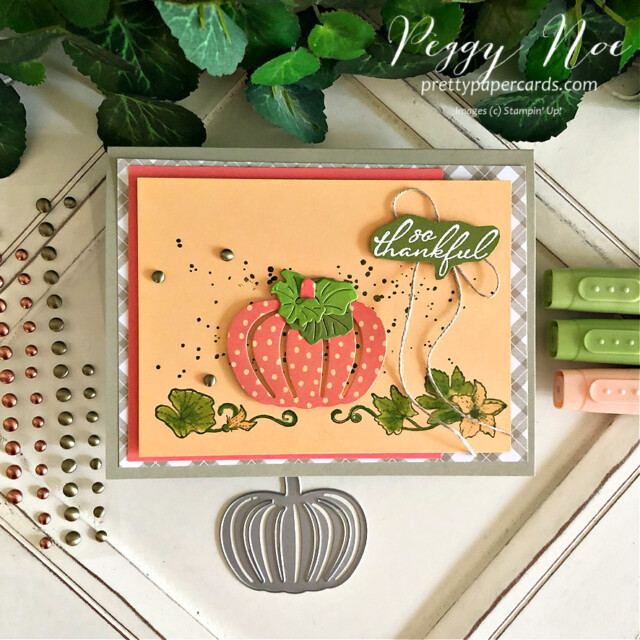 Handmade fall thankful card made with the Pretty Pumpkins Bundle by Stampin' Up! created by Peggy Noe of Pretty Paper Cards #prettypumpkins #prettypumpkinsbundle #stampinup #stampingup #fallcard #thankful #thankfulcard #pumpkincard #pumpkinpatch #pumpkinpatchcard #fallcard #peggynoe #prettypapercards #prettypapercards.com