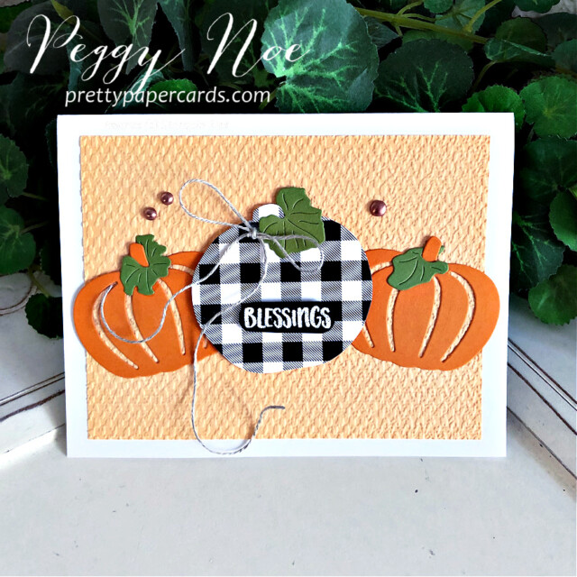 Handmade card using the Pretty Pumpkins Bundle by Stampin' Up! created by Peggy Noe of Pretty Paper Cards #prettypumpkins #prettypumpkinsbundle #tastefultextile #tastefultextileembossingfolder #patternparty #patternpartydsp