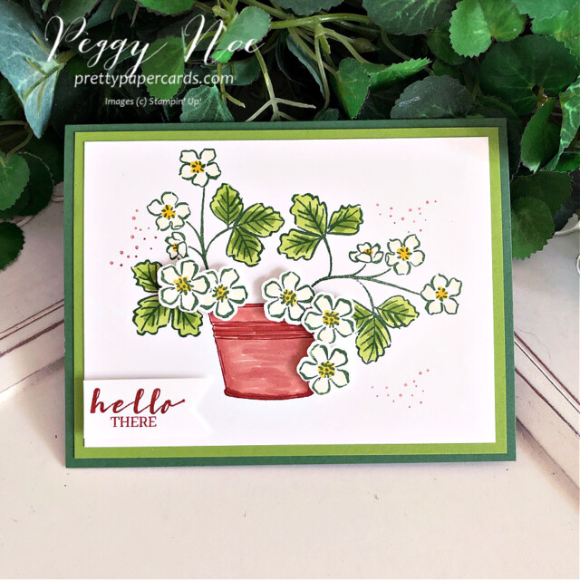 Handmade hello card made with the Sweet Strawberry Bundle by Stampin' Up! created by Peggy Noe of Pretty Paper Cards #sweetstrawberry #sweetstrawberrybundle #peggynoe #prettypapercards #prettypapercards.com #stampinup #stampingup #strawberrybuilderpunch #simplysucculents