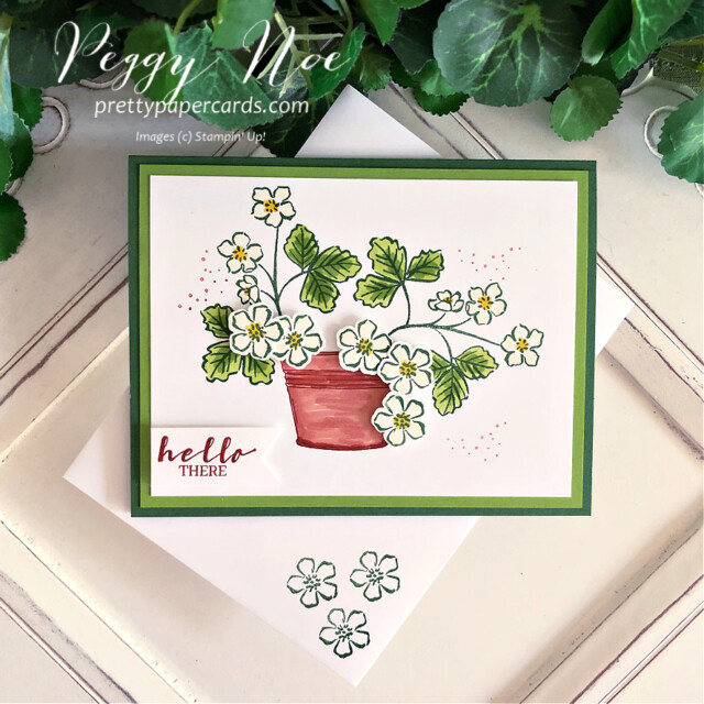 Handmade hello card made with the Sweet Strawberry Bundle by Stampin' Up! created by Peggy Noe of Pretty Paper Cards #sweetstrawberry #sweetstrawberrybundle #peggynoe #prettypapercards #prettypapercards.com #stampinup #stampingup #strawberrybuilderpunch #simplysucculents #strawberryblossoms #pottedstrawberries