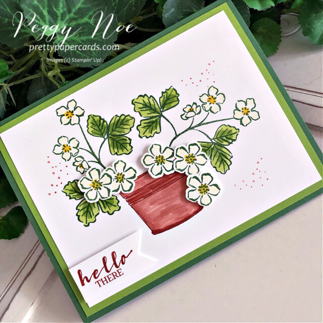 Handmade hello card made with the Sweet Strawberry Bundle by Stampin' Up! created by Peggy Noe of Pretty Paper Cards #sweetstrawberry #sweetstrawberrybundle #peggynoe #prettypapercards #prettypapercards.com #stampinup #stampingup #strawberrybuilderpunch #simplysucculents #strawberryblossoms #pottedstrawberries #hellothere