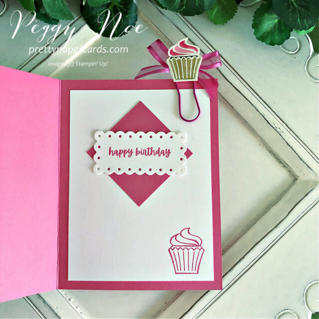 Handmade paperclip/bookmark made with the Sweets & Treats Stamp Set from Stampin' Up! created by Peggy Noe of Pretty Paper Cards #sweets&treats #cupcakebookmard #cupcakepaperclip #tinycupcake #funpaperclip #paperclipbookmark #handmadebookmark