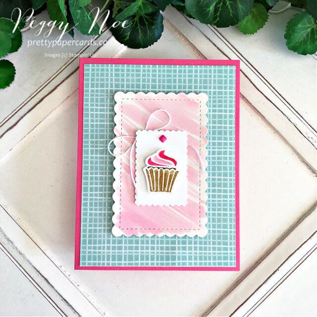 Handmade cupcake card made with the Sweets & Treats Stamp Set by Stampin' Up! created by Peggy Noe of Pretty Paper Cards #sweets&treats #sweets&treatsstampset #cupcakecard #peggynoe #prettypapercards #gdp306 #globaldesign