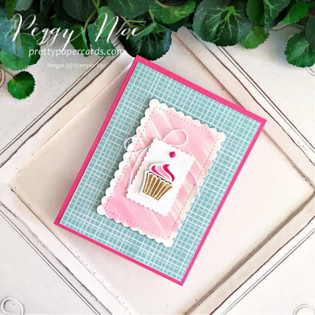 Handmade cupcake card made with the Sweets & Treats Stamp Set by Stampin' Up! created by Peggy Noe of Pretty Paper Cards #sweets&treats #sweets&treatsstampset #cupcakecard #peggynoe #prettypapercards #gdp306 #watercolors