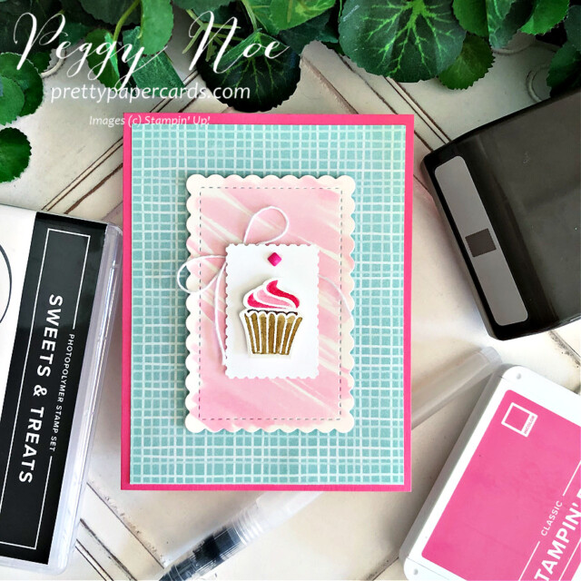 Handmade cupcake card made with the Sweets & Treats Stamp Set by Stampin' Up! created by Peggy Noe of Pretty Paper Cards #sweets&treats #sweets&treatsstampset #cupcakecard #peggynoe #prettypapercards #gdp306 #watercolor