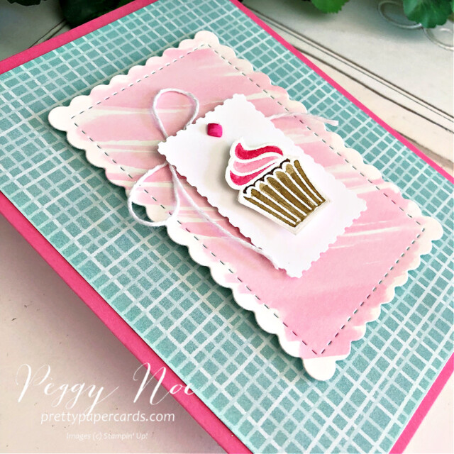 Handmade cupcake card made with the Sweets & Treats Stamp Set by Stampin' Up! created by Peggy Noe of Pretty Paper Cards #sweets&treats #sweets&treatsstampset #cupcakecard #peggynoe #prettypapercards #gdp306 #globaldesign #sweetstockingsdsp