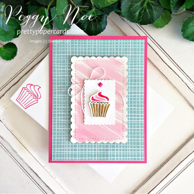 Handmade cupcake card made with the Sweets & Treats Stamp Set by Stampin' Up! created by Peggy Noe of Pretty Paper Cards #sweets&treats #sweets&treatsstampset #cupcakecard #peggynoe #prettypapercards #gdp306 #pinkcupcake