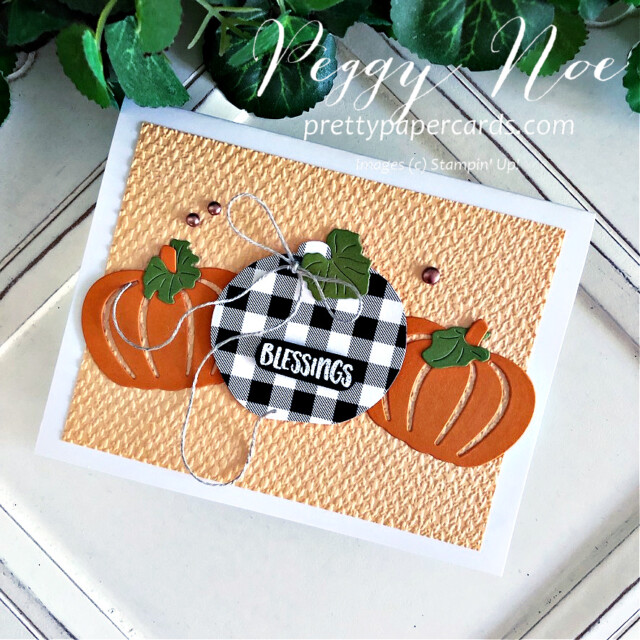 Handmade card using the Pretty Pumpkins Bundle by Stampin' Up! created by Peggy Noe of Pretty Paper Cards #prettypumpkins #prettypumpkinsbundle #tastefultextile #tastefultextileembossingfolder #patternparty #patternpartydsp #black&whitecheck
