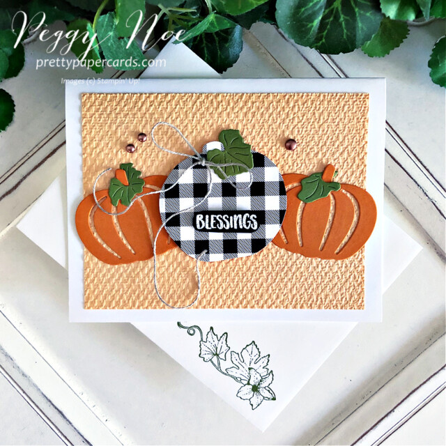 Handmade card using the Pretty Pumpkins Bundle by Stampin' Up! created by Peggy Noe of Pretty Paper Cards #prettypumpkins #prettypumpkinsbundle #tastefultextile #tastefultextileembossingfolder #patternparty #patternpartydsp #black&whitecheck #buffalocheckpumpkin