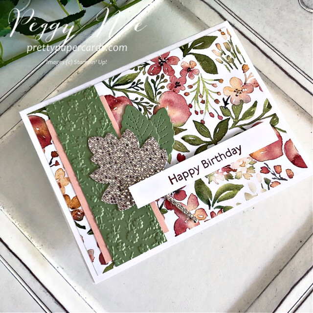Handmade Birthday Card Stampin' Up! created by Peggy Noe of Pretty Paper Cards #you'reapeachpaper #happybirthday #happybirthdaycard #birthdaycard #stampinup #stampingup #peggynoe #prettypapercards #artgallery
