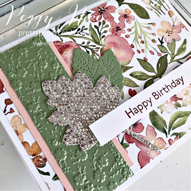 Handmade Birthday Card Stampin' Up! created by Peggy Noe of Pretty Paper Cards #you'reapeachpaper #happybirthday #happybirthdaycard #birthdaycard #stampinup #stampingup #peggynoe #prettypapercards #artgallery #bedazzling #birthday