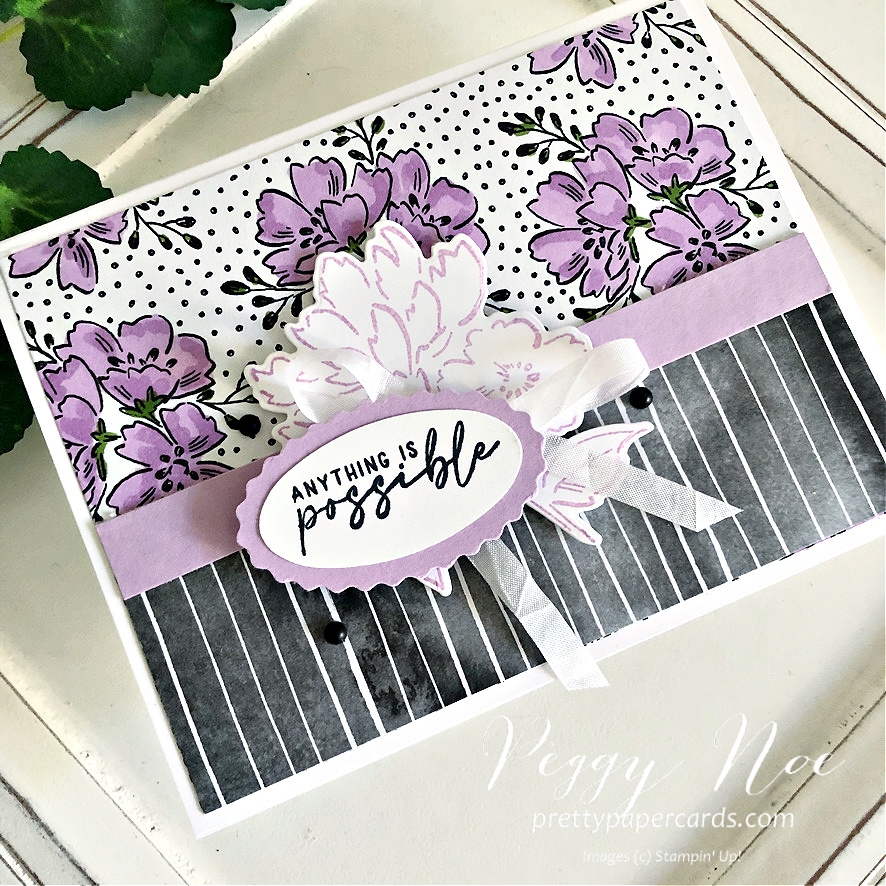 Handmade card made with the Beautifully Penned paper Hand Penned by Stampin' Up! made by Peggy Noe of Pretty Paper Cards #stampinup #stampingup #peggynoe #prettypapercards #beautifullypenned #beautifullypennedpaper #hand-pennedpetals