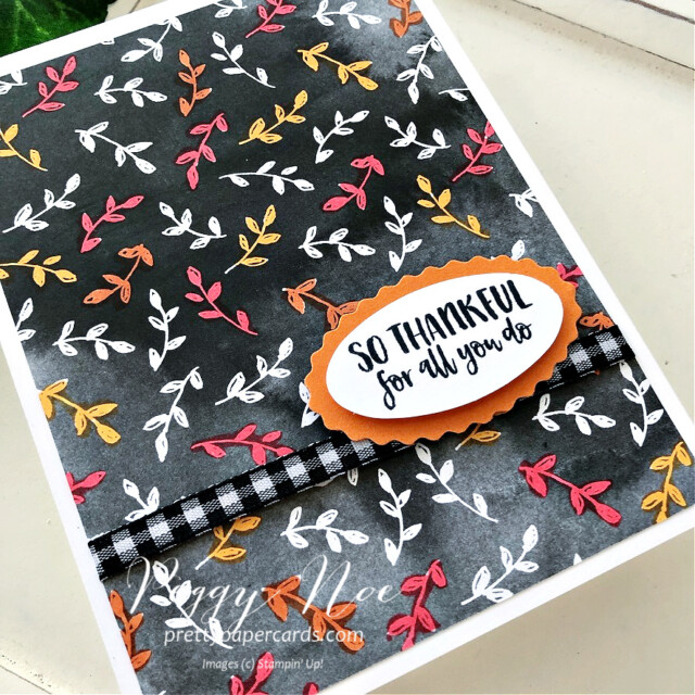 Thankful card made with Season's Blessings Bundle by Stampin' Up! created by Peggy Noe of Pretty Paper Cards #seasonsblessings #stampinup #stampingup #peggynoe #prettypapercards #sothankful #beautifullypenned #thankfulcard