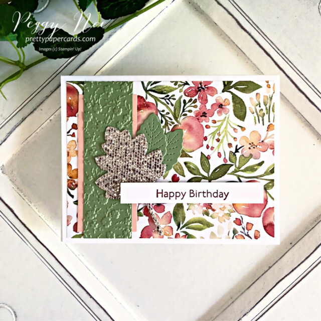 Handmade Birthday Card Stampin' Up! created by Peggy Noe of Pretty Paper Cards #you'reapeachpaper #happybirthday #happybirthdaycard #birthdaycard #stampinup #stampingup #peggynoe #prettypapercards