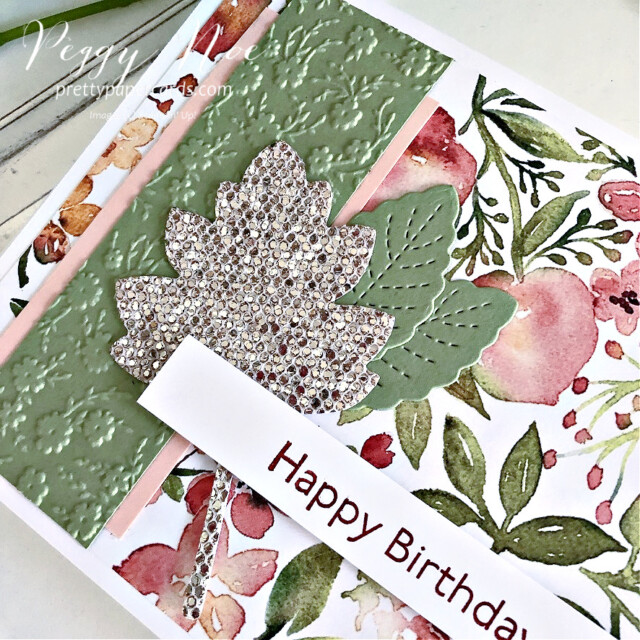 Handmade Birthday Card Stampin' Up! created by Peggy Noe of Pretty Paper Cards #you'reapeachpaper #happybirthday #happybirthdaycard #birthdaycard #stampinup #stampingup #peggynoe #prettypapercards #artgallery #bedazzling