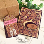 Handmade card and tag made with Blackberry Beauty Paper by Stampin