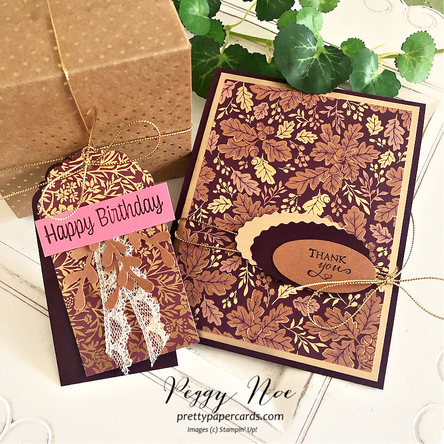 Handmade card and tag made with Blackberry Beauty Paper by Stampin' Up! created by Peggy Noe of Pretty Paper Cards #peggynoe #prettypapercards #birthdaytag #blackberrybeauty #blackberrybeautydsp