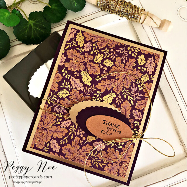 Handmade card and tag made with Blackberry Beauty Paper by Stampin' Up! created by Peggy Noe of Pretty Paper Cards #peggynoe #prettypapercards #birthdaytag #blackberrybeauty #blackberrybeautydsp #birthdaytag #doubleovalpunch