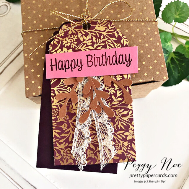 Handmade card and tag made with Blackberry Beauty Paper by Stampin' Up! created by Peggy Noe of Pretty Paper Cards #peggynoe #prettypapercards #birthdaytag #blackberrybeauty #blackberrybeautydsp #birthdaytag