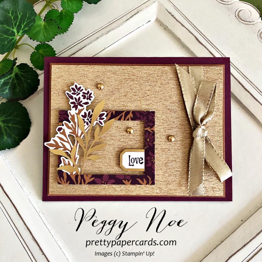 Brushed Metallic Stampin' Up! Pretty Paper Cards #blackberrybeautyephemera #blacberrybeauty #peggynoe #prettypapercards #stampinup #stampingup #brushedmetallic
