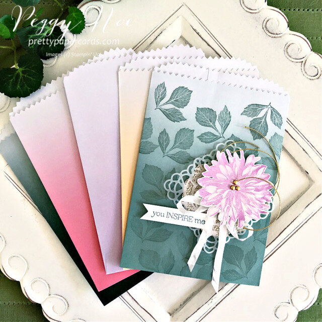 Handmade card using the Delicate Dahlias stamp set by Stampin' Up! created by Peggy Noe of Pretty Paper Cards #delicatedahlias #peggynoe #prettypapercards #stampinup #stampingup #ombregiftbags