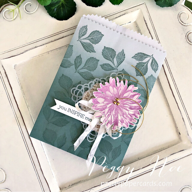 Handmade card using the Delicate Dahlias stamp set by Stampin' Up! created by Peggy Noe of Pretty Paper Cards #delicatedahlias #peggynoe #prettypapercards #stampinup #stampingup #ombregiftbags #youinspireme #softsucculent