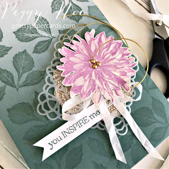 Handmade card using the Delicate Dahlias stamp set by Stampin' Up! created by Peggy Noe of Pretty Paper Cards #delicatedahlias #peggynoe #prettypapercards #stampinup #stampingup #ombregiftbags #youinspireme #softsucculent #squaredoily #dahliagiftbag