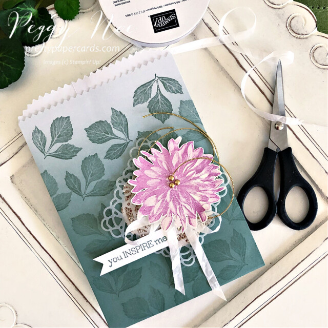 Handmade card using the Delicate Dahlias stamp set by Stampin' Up! created by Peggy Noe of Pretty Paper Cards #delicatedahlias #peggynoe #prettypapercards #stampinup #stampingup #ombregiftbags #youinspireme