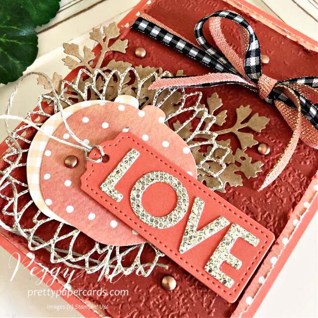 Handmade fall love card made with dies from Stampin' Up! created by Peggy Noe of Pretty Paper Cards #peggynoe #prettypapercards.com #palsbloghop #detailedpumplndies #tailormadetagsdies #sunflowerdies #playfulalphabetdies #foreverflourishingdies #lovecard
