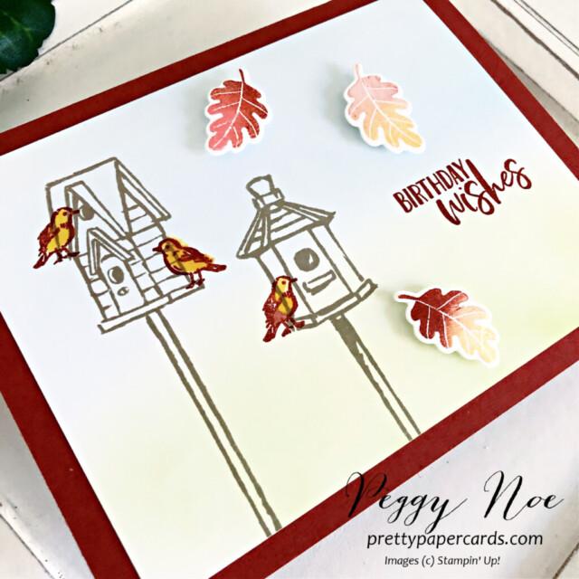 Garden Birdhouse Card Stampin' Up! Pretty Paper Cards #gardenbirdhouses #peggynoe #prettypapercards #stampinup #stampingup #birthdaycard