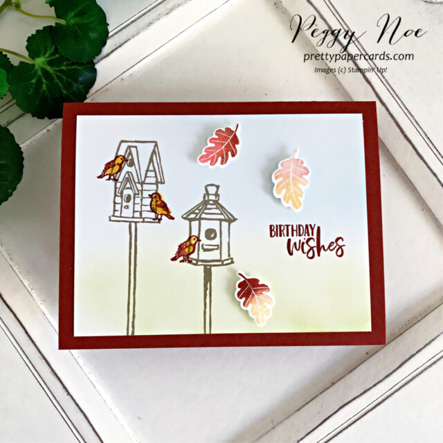 Garden Birdhouse Card Stampin' Up! Pretty Paper Cards #gardenbirdhouses #peggynoe #prettypapercards #stampinup #stampingup #blendingbrushes