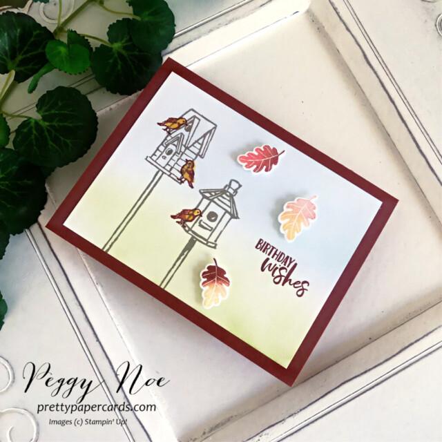 Garden Birdhouse Card Stampin' Up! Pretty Paper Cards #gardenbirdhouses #peggynoe #prettypapercards #stampinup #stampingup #birthdaycard #birdhouse