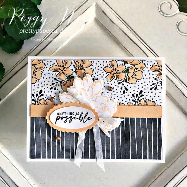 Handmade card made with the Beautifully Penned paper Hand Penned by Stampin' Up! made by Peggy Noe of Pretty Paper Cards #stampinup #stampingup #peggynoe #prettypapercards #beautifullypenned #beautifullypennedpaper #hand-pennedpetals #freshfreesia #anythingispossible
