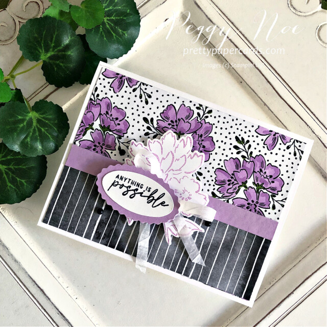 Handmade card made with the Beautifully Penned paper Hand Penned by Stampin' Up! made by Peggy Noe of Pretty Paper Cards #stampinup #stampingup #peggynoe #prettypapercards #beautifullypenned #beautifullypennedpaper #hand-pennedpetals #freshfreesia #anythingispossible #doubleovalpunch