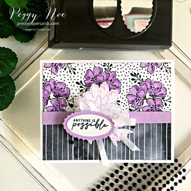 Handmade card made with the Beautifully Penned paper Hand Penned by Stampin' Up! made by Peggy Noe of Pretty Paper Cards #stampinup #stampingup #peggynoe #prettypapercards #beautifullypenned #beautifullypennedpaper #hand-pennedpetals #freshfreesia