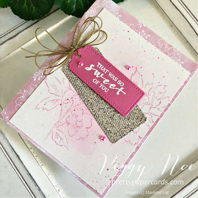 Handmade Card using the Hand Penned and Sweet Strawberry stamp sets by Stampin' Up! designed by Peggy Noe of Pretty Paper Cards #peggynoe #prettypapercards #sweetstrawberrystampset #hand-pennedstampset #stampinup #stampingup #thankyoucard #tailormadetagdies #tags