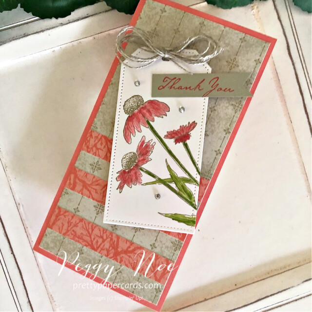 """Nature's Harvest Stampin"""" Up! Peggy Noe #nature'sharveststampset #nature'sharvest #tailormadetagdies #stampinup #stampingup #peggynoe #prettypapercards #thankyoucard #slimlinecard #coneflower #nature'sharvestcard #fallflowers"""