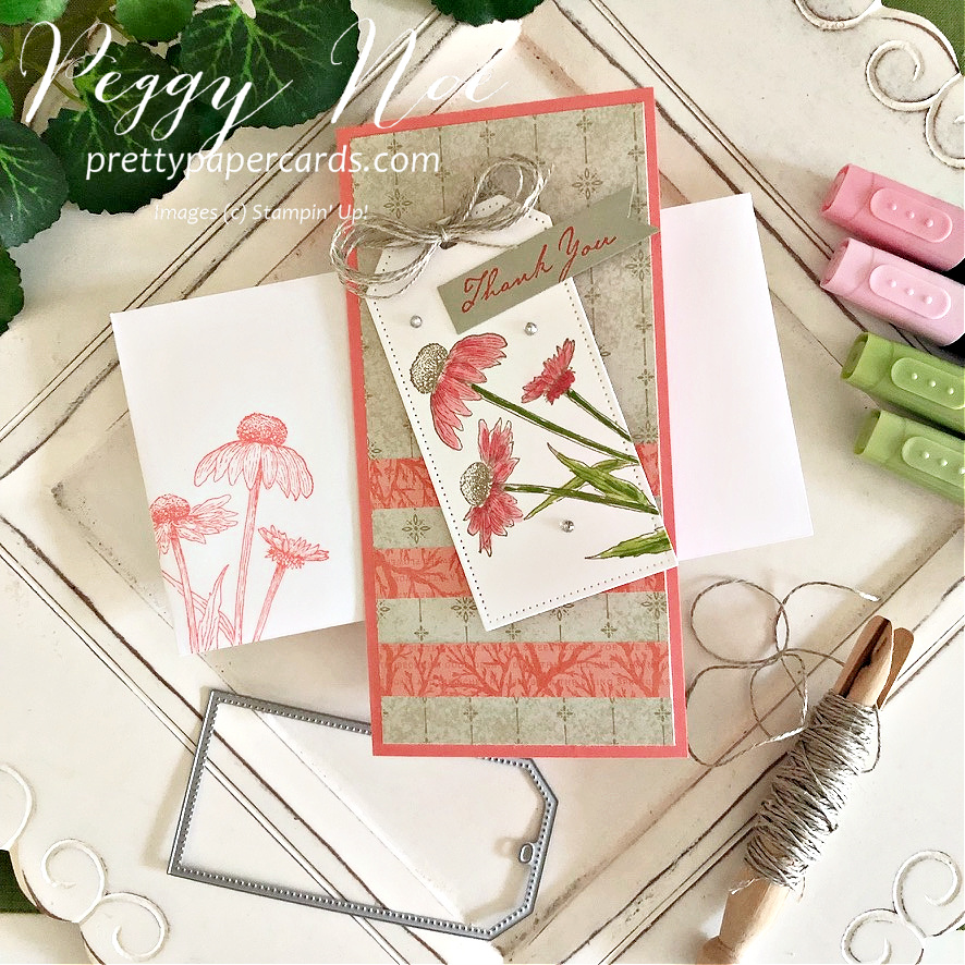 """Nature's Harvest Stampin"""" Up! Peggy Noe #nature'sharveststampset #nature'sharvest #tailormadetagdies #stampinup #stampingup #peggynoe #prettypapercards #thankyoucard #slimlinecard #coneflower"""