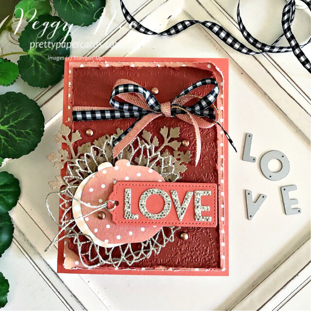 Handmade fall love card made with dies from Stampin' Up! created by Peggy Noe of Pretty Paper Cards #peggynoe #prettypapercards.com #palsbloghop #detailedpumplndies #tailormadetagsdies #sunflowerdies #playfulalphabetdies #foreverflourishingdies