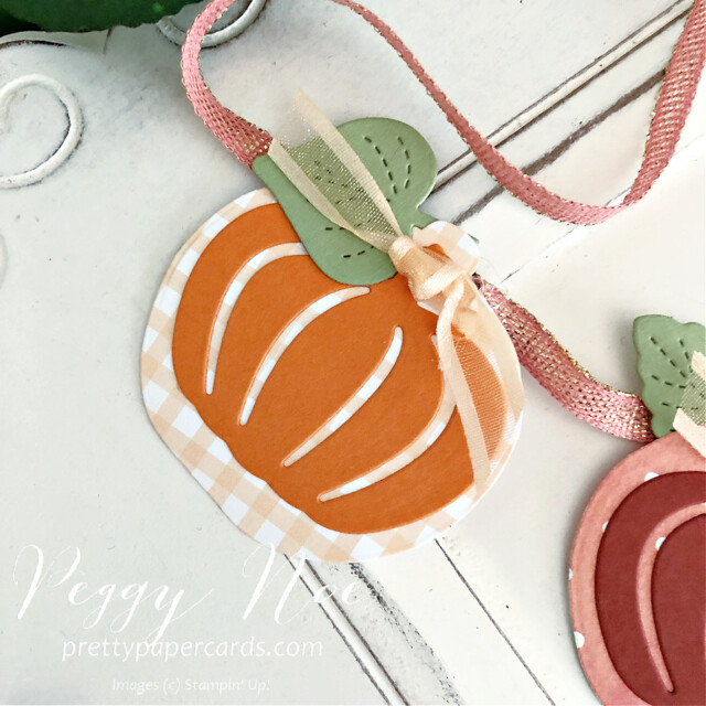 Handmade Pumpkin Banner made with the Pretty Pumpkin Bundle by Stampin' Up! created by Peggy Noe of Pretty Paper Cards #peggynoe #prettypapercards #prettypapercards.com #prettypumpkins #detailedpumpkinsdies #pumpkinbanner