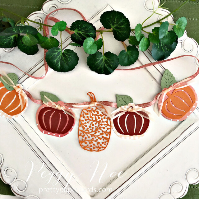 Handmade Pumpkin Banner made with the Pretty Pumpkin Bundle by Stampin' Up! created by Peggy Noe of Pretty Paper Cards #peggynoe #prettypapercards #prettypapercards.com #prettypumpkins #prettypumpkinsbundle #pumpkinbanner