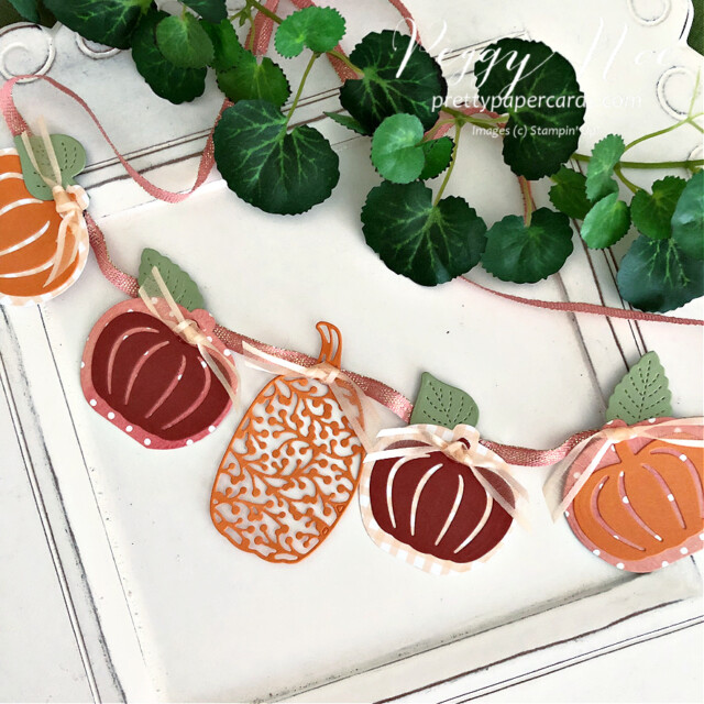 Handmade Pumpkin Banner made with the Pretty Pumpkin Bundle by Stampin' Up! created by Peggy Noe of Pretty Paper Cards #peggynoe #prettypapercards #prettypapercards.com #prettypumpkins #detailedpumpkinsdies #pumpkinbanner #