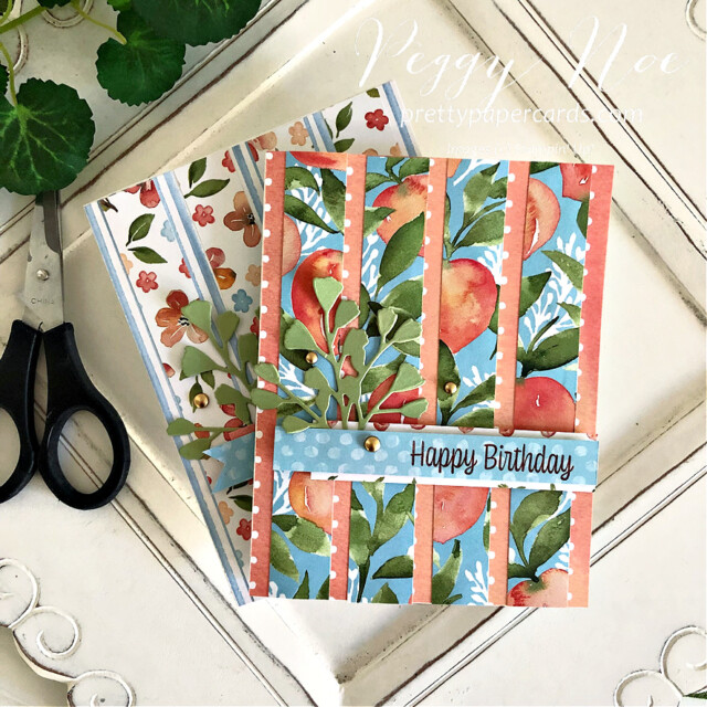 Handmade Striped Birthday Card Stampin' Up! Peggy Noe Pretty Paper Cards #you'reapeach #you'reapeachdsp #stampin'up #stampingup #peggynoe #prettypapercards