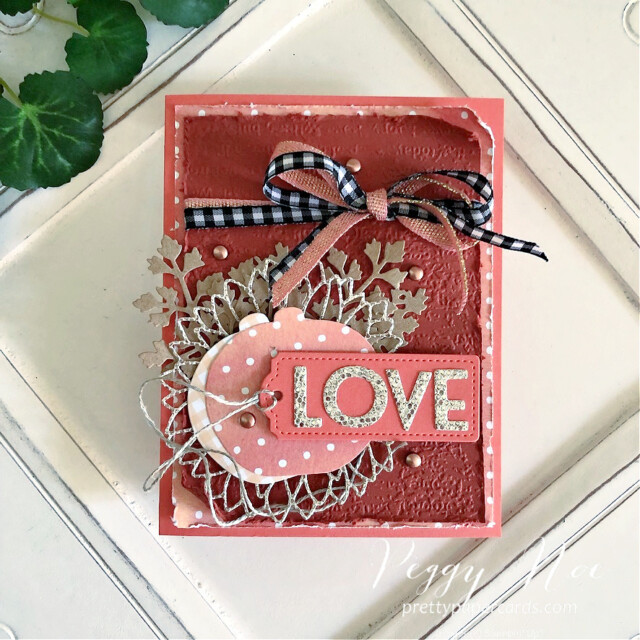 Handmade fall love card made with dies from Stampin' Up! created by Peggy Noe of Pretty Paper Cards #peggynoe #prettypapercards.com #palsbloghop #detailedpumplndies #tailormadetagsdies #sunflowerdies #playfulalphabetdies #foreverflourishingdies #lovecard #black&whiteribbon #fallcard
