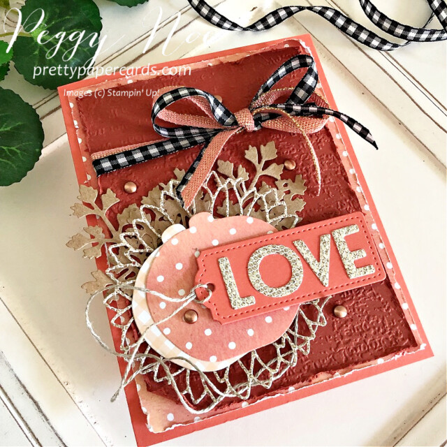 Handmade fall love card made with dies from Stampin' Up! created by Peggy Noe of Pretty Paper Cards #peggynoe #prettypapercards.com #palsbloghop #detailedpumplndies #tailormadetagsdies #sunflowerdies #playfulalphabetdies