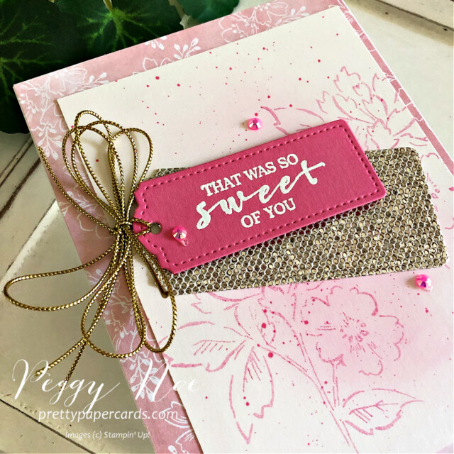 Handmade Card using the Hand Penned and Sweet Strawberry stamp sets by Stampin' Up! designed by Peggy Noe of Pretty Paper Cards #peggynoe #prettypapercards #sweetstrawberrystampset #hand-pennedstampset #stampinup #stampingup #thankyoucard
