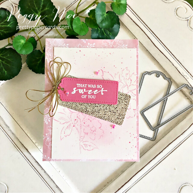 Handmade Card using the Hand Penned and Sweet Strawberry stamp sets by Stampin' Up! designed by Peggy Noe of Pretty Paper Cards #peggynoe #prettypapercards #sweetstrawberrystampset #hand-pennedstampset #stampinup #stampingup #thankyoucard #tailormadetagdies