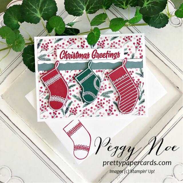 Sweet Little Stockings Card Stampin' Up! Peggy Noe #sweetlittlestockings #peggynoe #prettypapercards #stampinup #stampingup