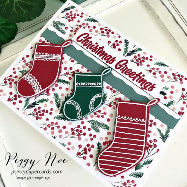 Sweet Little Stockings Card Stampin' Up! Peggy Noe #sweetlittlestockings #peggynoe #prettypapercards #stampinup #stampingup #sweetstockings